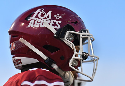 LAS CRUCES, NEW MEXICO - AUGUST 28:  Defensive lineman Dassani Freeman #99 of the New Mexico State Aggies looks on in the first half of his team's game against the UTEP Miners at Aggie Memorial Stadium on August 28, 2016 in Las Cruces, New Mexico.  (Photo by Sam Wasson/bleedCrimson.net)