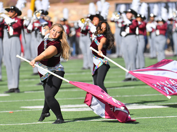 LAS CRUCES, NEW MEXICO - NOVEMBER 23, 2019:  Members of the New Mexico State Aggies color guard perform before the team's game against the UTEP Miners at Aggie Memorial Stadium on November 23, 2019 in Las Cruces, New Mexico.  (Photo by Sam Wasson/bleedCrimson.net)