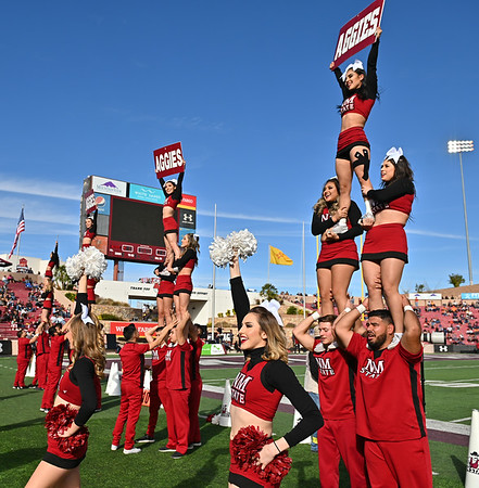 LAS CRUCES, NEW MEXICO - NOVEMBER 23, 2019:  New Mexico State Aggies cheerleaders perform during the team's game against the UTEP Miners at Aggie Memorial Stadium on November 23, 2019 in Las Cruces, New Mexico.  (Photo by Sam Wasson/bleedCrimson.net)