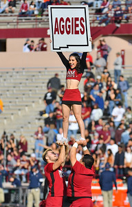 LAS CRUCES, NEW MEXICO - NOVEMBER 23, 2019:  New Mexico State Aggies cheerleaders perform before  the team's game against the UTEP Miners at Aggie Memorial Stadium on November 23, 2019 in Las Cruces, New Mexico.  (Photo by Sam Wasson/bleedCrimson.net)