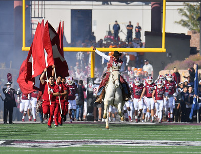 LAS CRUCES, NEW MEXICO - NOVEMBER 23, 2019:  \New Mexico State Aggies mascot Pistol Pete leads the team onto the field before their game against the UTEP Miners at Aggie Memorial Stadium on November 23, 2019 in Las Cruces, New Mexico.  (Photo by Sam Wasson/bleedCrimson.net)