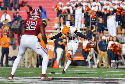 LAS CRUCES, NEW MEXICO - NOVEMBER 23, 2019:  Place kicker Gavin Baechle #40 of the UTEP Miners kicks off against the New Mexico State Aggies during their game at Aggie Memorial Stadium on November 23, 2019 in Las Cruces, New Mexico.  (Photo by Sam Wasson/bleedCrimson.net)