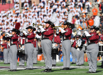 LAS CRUCES, NEW MEXICO - NOVEMBER 23, 2019:  Members of the New Mexico State Aggies PRIDE band perform before the team's game against the UTEP Miners at Aggie Memorial Stadium on November 23, 2019 in Las Cruces, New Mexico.  (Photo by Sam Wasson/bleedCrimson.net)
