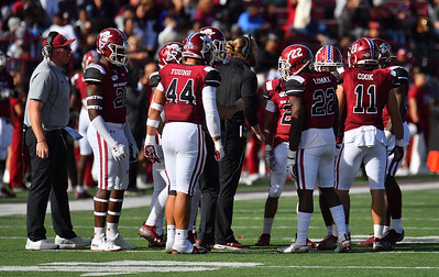 LAS CRUCES, NEW MEXICO - NOVEMBER 23, 2019:  The New Mexico State Aggies huddle before the opening kickoff of their game against the UTEP Miners at Aggie Memorial Stadium on November 23, 2019 in Las Cruces, New Mexico.  (Photo by Sam Wasson/bleedCrimson.net)