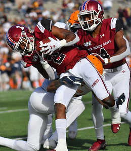 LAS CRUCES, NEW MEXICO - NOVEMBER 23, 2019:  Wide receiver OJ Clark #2 of the New Mexico State Aggies  runs after catching a pass against the UTEP Miners during their game at Aggie Memorial Stadium on November 23, 2019 in Las Cruces, New Mexico.  (Photo by Sam Wasson/bleedCrimson.net)