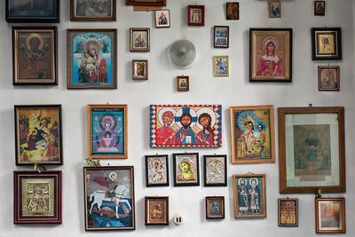 Pictures of Saints inside Mtsvane Kvavila Monastery, Kutaisi, Georgia