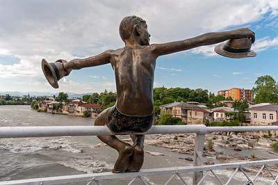 Statue of Boy on White Bridge (Tetrikhidi), Kutaisi, Georgia