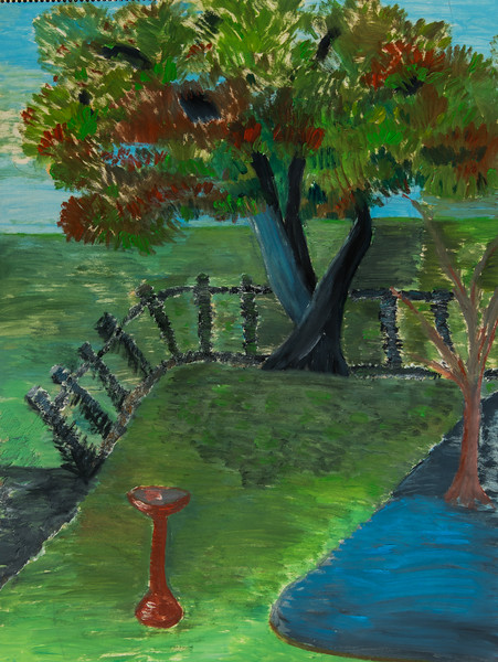 Untitled Yard With Tree and Fountain 18x24-103