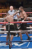 (6.26.2009 -- Tucson)  George Walton scores to the head for Daniel Jacobs in their Middleweight bout.  Jacobs went on to score a 8th round TKO to maintain his undefeated record.<br /> <br /> Images from the Golden Boy Promotions fight card at the Desert Diamond Casino.