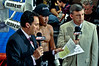 (6.26.2009 -- Tucson)  Daniel Jacob waiting to be interviewed by ESPN's Joe Tessitore (left) and Teddy Atlas.  Jacobs scored an 8th round TKO over George Walton.<br /> <br /> Images from the Golden Boy Promotions fight card at the Desert Diamond Casino.