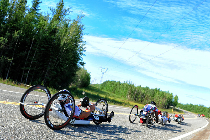 July 18, 2013: Sadler's Alaska Challenge Stage Three - Milepost 264 to Milepost 318. A group of five handcyclists race on the Parks Highway during stage three. The stage began at milepost 264 north of Nenana, AK and finished at milepost 318 north of Healy, AK.