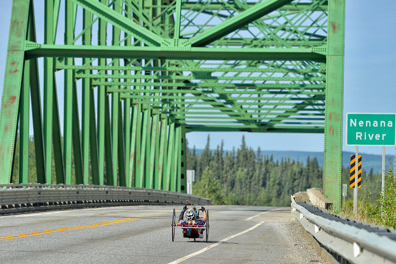 July 18, 2013: Sadler's Alaska Challenge Stage Three - Milepost 264 to Milepost 318. Carrie Finale (Navarre, Fla.) crosses the Jack Coghill Bridge to the Interior on the Parks Highway during stage three. The stage began at milepost 264 north of Nenana, AK and finished at milepost 318 north of Healy, AK. Finale finished the stage in 3:11:56.