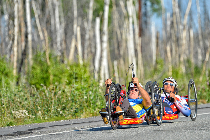 July 18, 2013: Sadler's Alaska Challenge Stage Three - Milepost 264 to Milepost 318. Michael Postell (Snellville, Ga.) and Gerard Ah Fook (Tucson, Ariz.) race on the Parks Highway during stage three. The stage began at milepost 264 north of Nenana, AK and finished at milepost 318 north of Healy, AK.