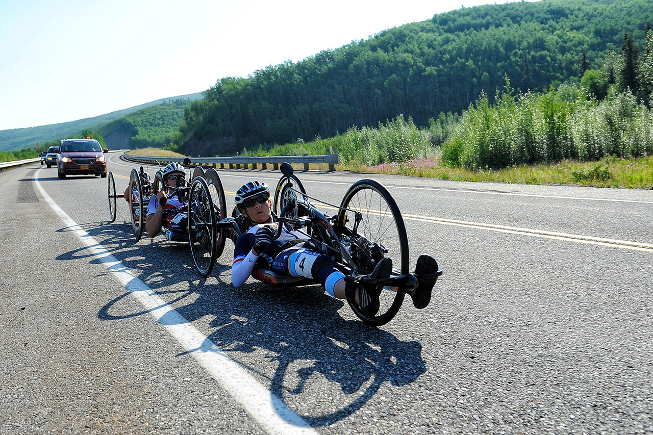 July 18, 2013: Sadler's Alaska Challenge Stage Three - Milepost 264 to Milepost 318. Thea Rosa (Cool, Calif.) leads a pack of handcyclists on the Parks Highway during stage three. The stage began at milepost 264 north of Nenana, AK and finished at milepost 318 north of Healy, AK.