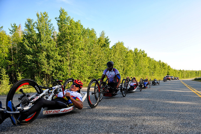 July 18, 2013: Sadler's Alaska Challenge Stage Three - Milepost 264 to Milepost 318. A group of six handcyclists race on the Parks Highway during stage three. The stage began at milepost 264 north of Nenana, AK and finished at milepost 318 north of Healy, AK.