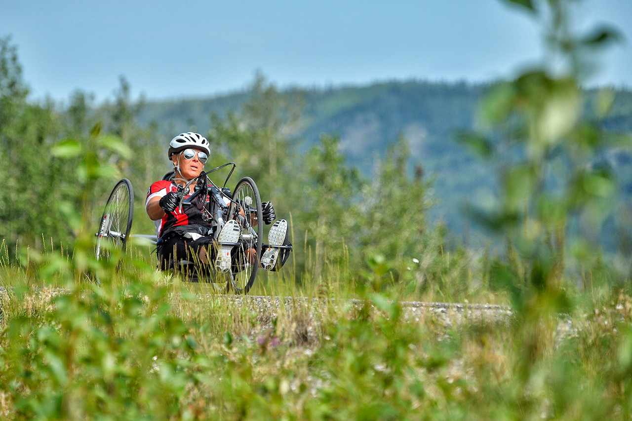 July 18, 2013: Sadler's Alaska Challenge Stage Three - Milepost 264 to Milepost 318. Karin Korb (N. Lauderdale, Fla.) races on the Parks Highway during stage three. The stage began at milepost 264 north of Nenana, AK and finished at milepost 318 north of Healy, AK.