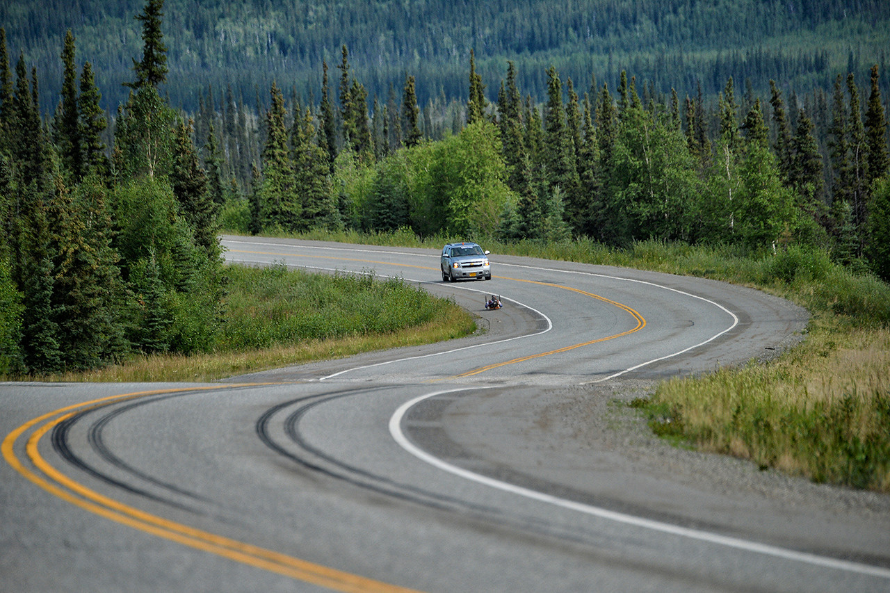 July 18, 2013: Sadler's Alaska Challenge Stage Three - Milepost 264 to Milepost 318. Gerard Ah Fook (Tucson, Ariz.) races on the Parks Highway during stage three. The stage began at milepost 264 north of Nenana, AK and finished at milepost 318 north of Healy, AK.