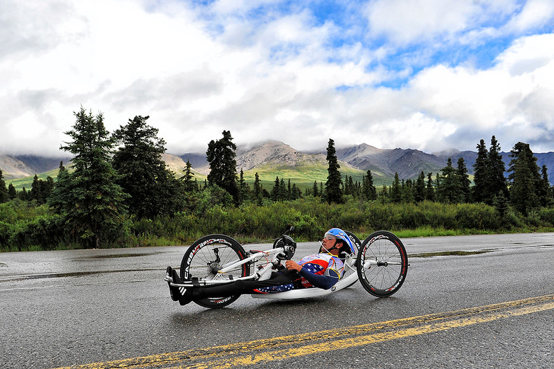 July 19, 2013: Sadler's Alaska Challenge Stage Four - Time Trial in Denali Park. Carlos Moleda (Bluffton, S.C.) races along the Denali Park road inside Denali National Park during stage four. Moleda finished the 10.9-mile stage in 34:34.