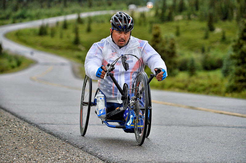 July 19, 2013: Sadler's Alaska Challenge Stage Four - Time Trial in Denali Park. Joseph Beimfohr (Wesley Chapel, Fla.) races along the Denali Park road inside Denali National Park during stage four. Beimfohr finished the 10.9-mile stage in 1:04:27.