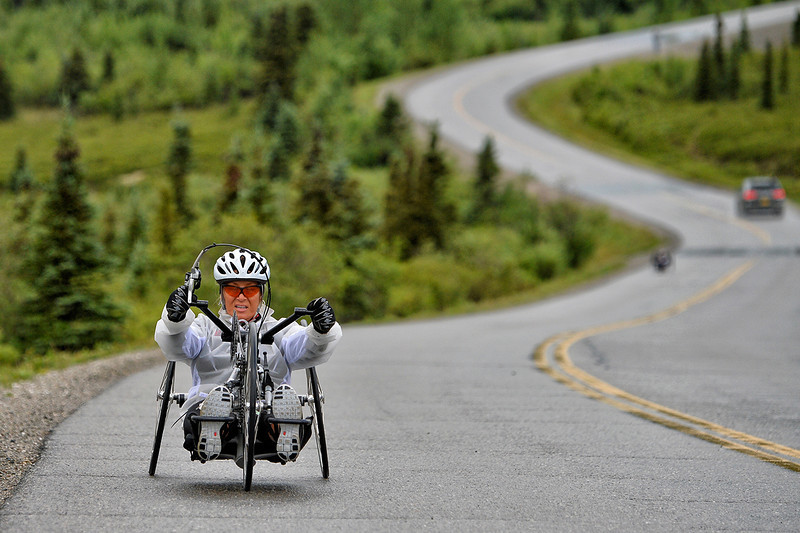 July 19, 2013: Sadler's Alaska Challenge Stage Four - Time Trial in Denali Park. Karin Korb (N. Lauderdale, Fla.) races along the Denali Park road inside Denali National Park during stage four. Korb finished the 10.9-mile stage in 54:03.