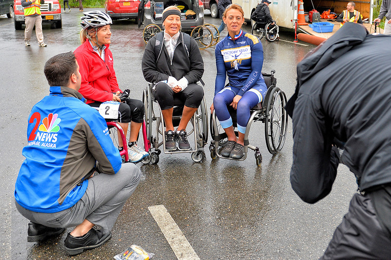 July 19, 2013: Sadler's Alaska Challenge Stage Four - Time Trial in Denali Park. Charlie Sokaitis (KTUU) interviews the three female handcyclists before the start of stage four.