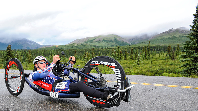July 19, 2013: Sadler's Alaska Challenge Stage Four - Time Trial in Denali Park. Jacob Freeland (Asheville, N.C.) races along the Denali Park road inside Denali National Park during stage four. Freeland finished the 10.9-mile stage in 44:23.