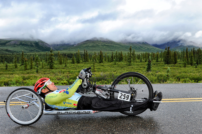 July 19, 2013: Sadler's Alaska Challenge Stage Four - Time Trial in Denali Park. Rafal Wilk (Rzezow, Poland) races along the Denali Park road inside Denali National Park during stage four. Wilk finished the 10.9-mile stage in 29:01.
