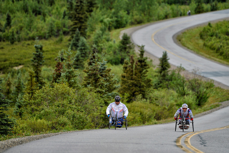 July 19, 2013: Sadler's Alaska Challenge Stage Four - Time Trial in Denali Park. Robert Puckett III (St. Petersburg, Fla.) and Joseph Beimfohr (Wesley Chapel, Fla.) race along the Denali Park road inside Denali National Park during stage four.