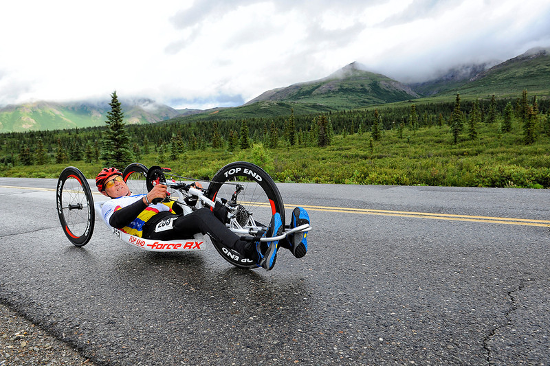 July 19, 2013: Sadler's Alaska Challenge Stage Four - Time Trial in Denali Park. Butch Martin (Fishers, Ind.) races along the Denali Park road inside Denali National Park during stage four. Martin finished the 10.9-mile stage in 32:39.