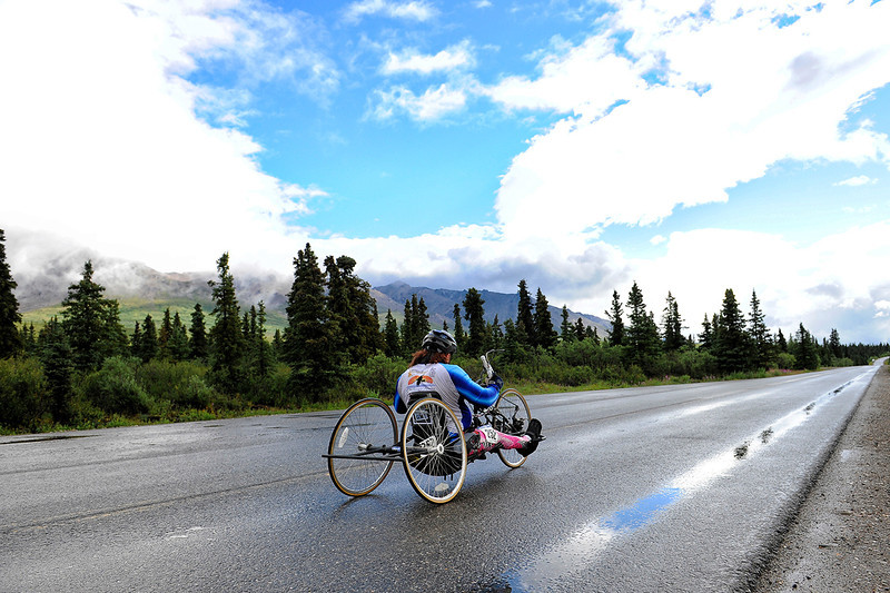 July 19, 2013: Sadler's Alaska Challenge Stage Four - Time Trial in Denali Park. Larry Coutermarsh (North Pole, AK) races along the Denali Park road inside Denali National Park during stage four. Coutermarsh finished the 10.9-mile stage in 1:05:01.