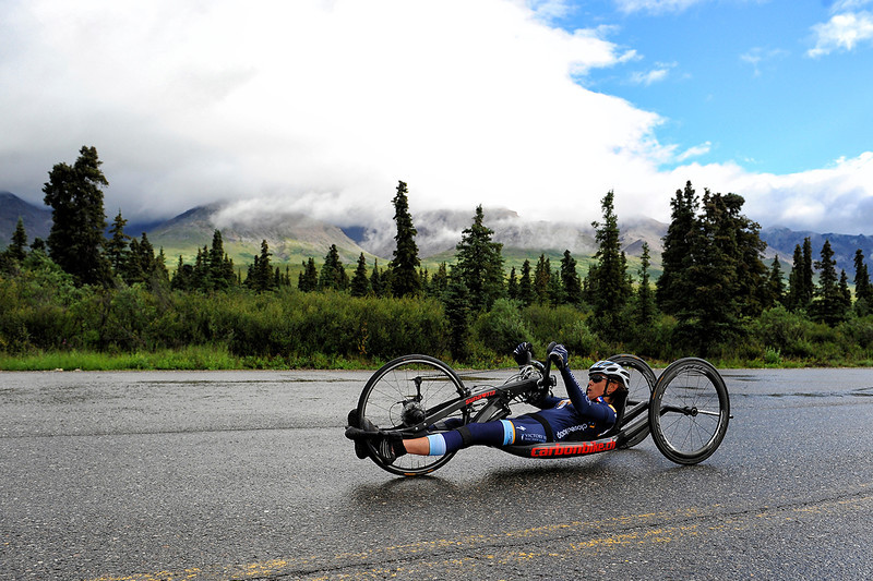 July 19, 2013: Sadler's Alaska Challenge Stage Four - Time Trial in Denali Park. Thea Rosa (Cool, Calif.) races along the Denali Park road inside Denali National Park during stage four. Rosa finished the 10.9-mile stage in 42:54.