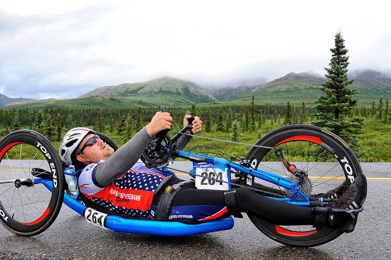 July 19, 2013: Sadler's Alaska Challenge Stage Four - Time Trial in Denali Park. Michael Bishop (Beech Island, S.C.) races along the Denali Park road inside Denali National Park during stage four. Bishop finished the 10.9-mile stage in 56:38.