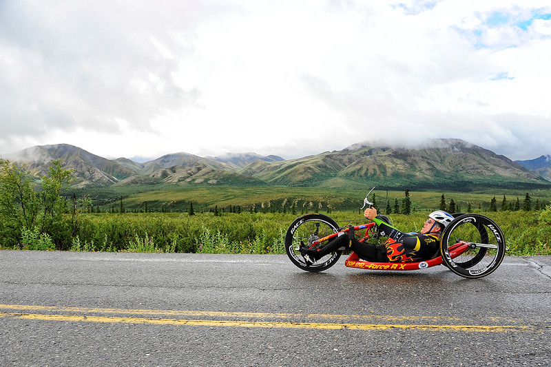 July 19, 2013: Sadler's Alaska Challenge Stage Four - Time Trial in Denali Park. Michael Postell (Snellville, Ga.) races along the Denali Park road inside Denali National Park during stage four. Postell finished the 10.9-mile stage in 37:23.