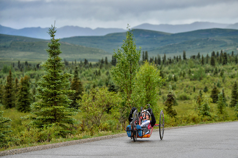 July 19, 2013: Sadler's Alaska Challenge Stage Four - Time Trial in Denali Park. Carrie Finale (Navarre, Fla.) races along the Denali Park road inside Denali National Park during stage four. Finale finished the 10.9-mile stage in 52:03.