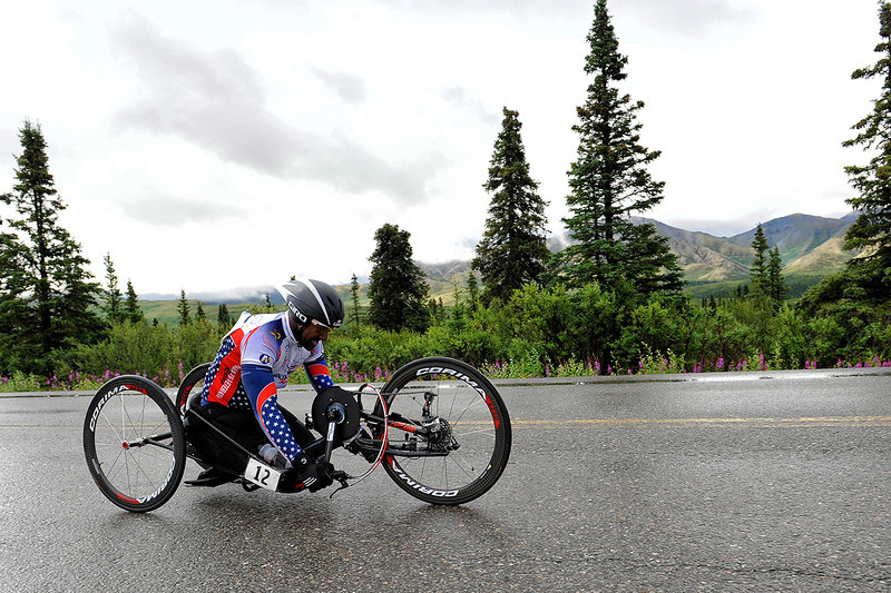 July 19, 2013: Sadler's Alaska Challenge Stage Four - Time Trial in Denali Park. Alfredo de los Santos (Hopewell Junction, N.J.) races along the Denali Park road inside Denali National Park during stage four. de los Santos finished the 10.9-mile stage in 33:03.