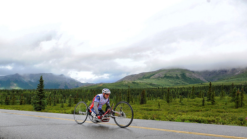 July 19, 2013: Sadler's Alaska Challenge Stage Four - Time Trial in Denali Park. Robert Puckett III (St. Petersburg, Fla.) races along the Denali Park road inside Denali National Park during stage four. Puckett finished the 10.9-mile stage in 35:26.