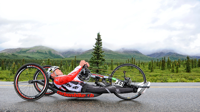 July 19, 2013: Sadler's Alaska Challenge Stage Four - Time Trial in Denali Park. Walter Ablinger (Rainbach, Austria) races along the Denali Park road inside Denali National Park during stage four. Ablinger finished the 10.9-mile stage in 30:54.