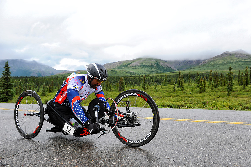 July 19, 2013: Sadler's Alaska Challenge Stage Four - Time Trial in Denali Park. Alfredo de los Santos (Hopewell Junction, N.J.) races along the Denali Park road inside Denali National Park during stage four. de los Santos finished the stage in 33:03.