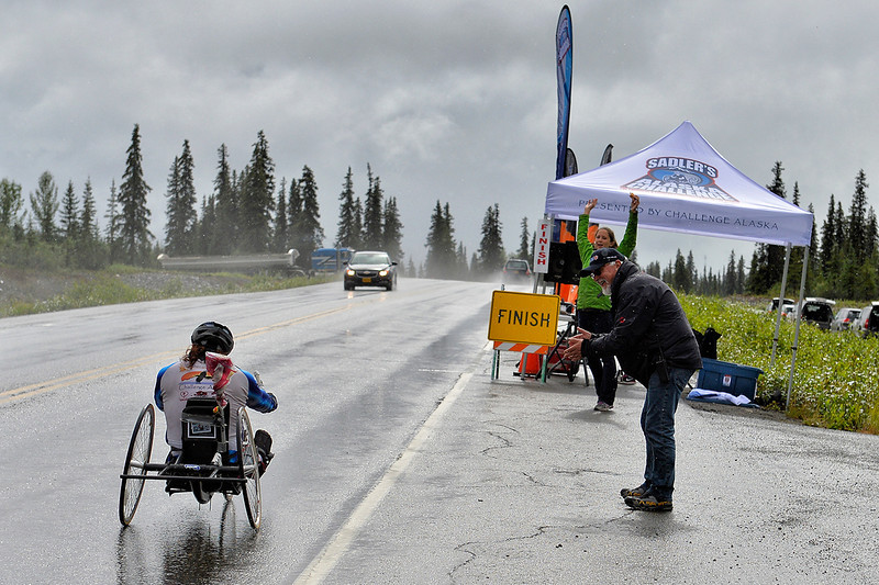 July 19, 2013: Sadler's Alaska Challenge Stage Five from Milepost 211 to Milepost 183. Larry Coutermarsh (North Pole, AK) nears the finish line for stage five.