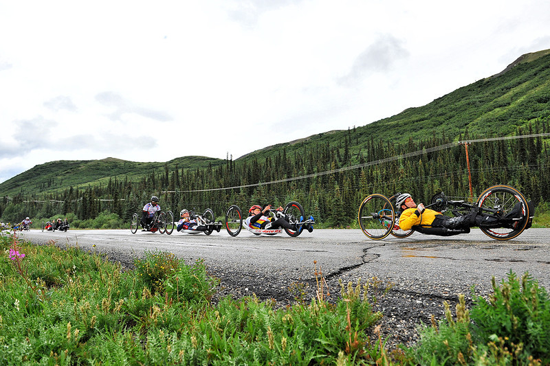 July 19, 2013: Sadler's Alaska Challenge Stage Five from Milepost 211 to Milepost 183. Peer Bartels (Leer, Germany) leads a second group out of the starting line along the Parks highway during stage five. Bartels finished the 28.2-mile stage in 1:24:15.