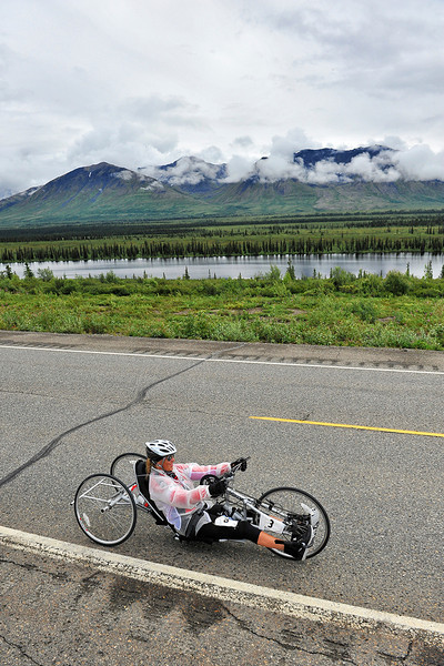 July 19, 2013: Sadler's Alaska Challenge Stage Five from Milepost 211 to Milepost 183. Karin Korb (N. Lauderdale, Fla.) races along the Parks highway during stage five. Korb finished the 28.2-mile stage in 2:03:35.