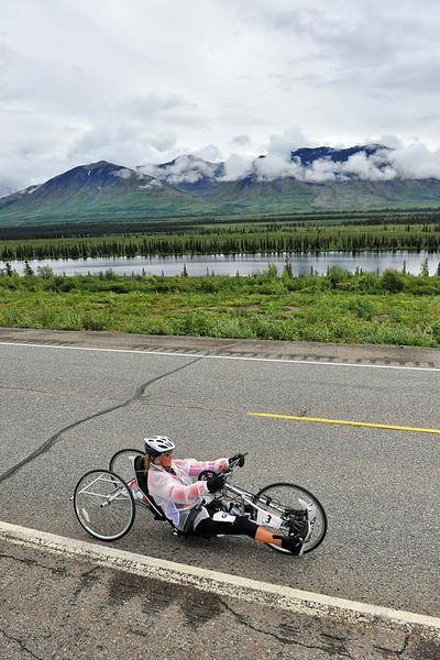 July 19, 2013: Sadler's Alaska Challenge Stage Five from Milepost 211 to Milepost 183. Karin Korb (N. Lauderdale, Fla.) races along the Parks highway during stage five. Korb finished the 28.2-mile stage in 2:03:35.