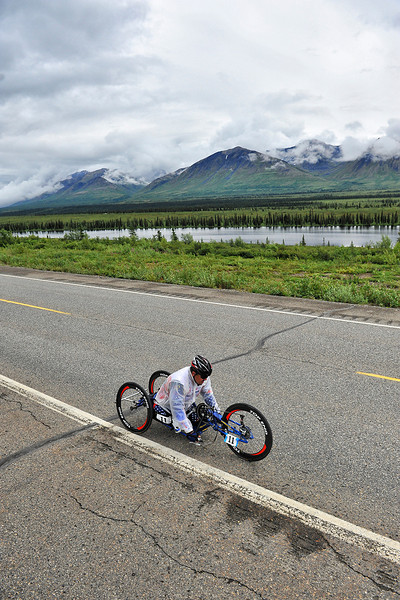 July 19, 2013: Sadler's Alaska Challenge Stage Five from Milepost 211 to Milepost 183. Joseph Beimfohr (Wesley Chapel, Fla.) races along the Parks highway during stage five. Beimfohr finished the 28.2-mile stage in 2:03:34.