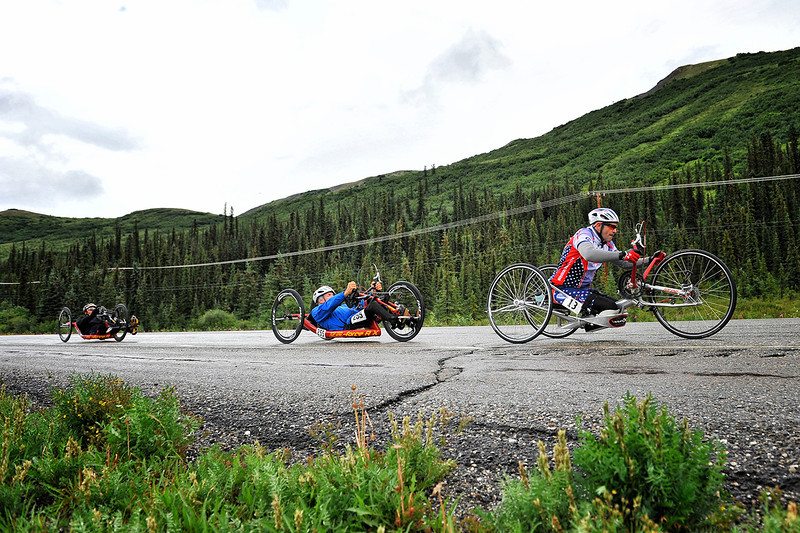 July 19, 2013: Sadler's Alaska Challenge Stage Five from Milepost 211 to Milepost 183. Robert Puckett III (St. Petersburg, Fla.) leads a fourth group out of the starting line along the Parks highway during stage five. Puckett finished the 28.2-mile stage in 1:31:43.