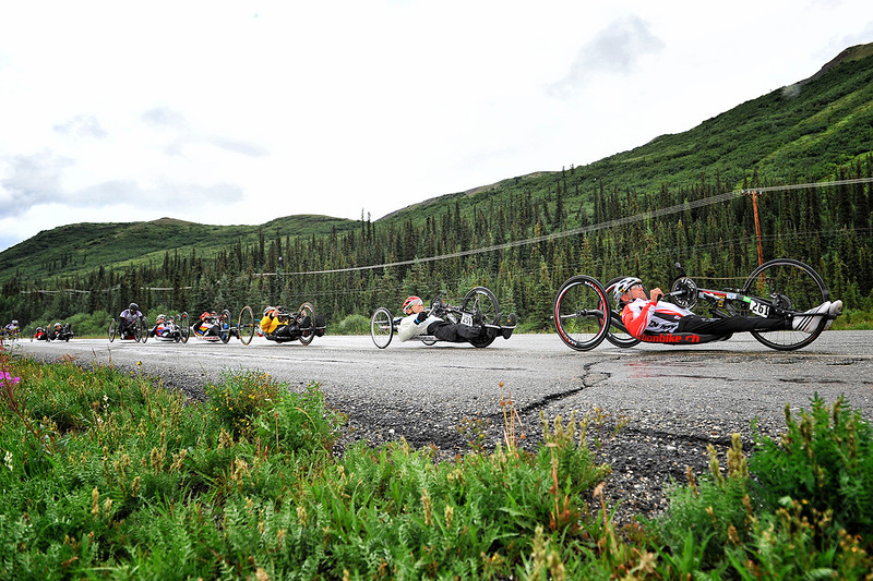 July 19, 2013: Sadler's Alaska Challenge Stage Five from Milepost 211 to Milepost 183. Walter Ablinger (Rainbach, Austria) leads the group of handcyclists out of the starting line along the Parks highway during stage five. Ablinger finished the 28.2-mile stage in 1:15:19.