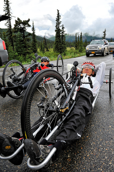 July 19, 2013: Sadler's Alaska Challenge Stage Five from Milepost 211 to Milepost 183. Rafal Wilk (Rzezow, Poland) rests before the start of stage five. Wilk finished the 28.2-mile stage in 1:15:08.