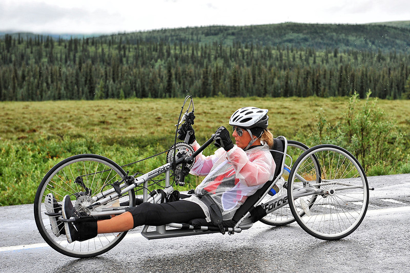 July 19, 2013: Sadler's Alaska Challenge Stage Five from Milepost 211 to Milepost 183. Karin Korb (N. Lauderdale, Fla.) race along the Parks highway during stage five. Korb finished the 28.2-mile stage in 2:03:35.