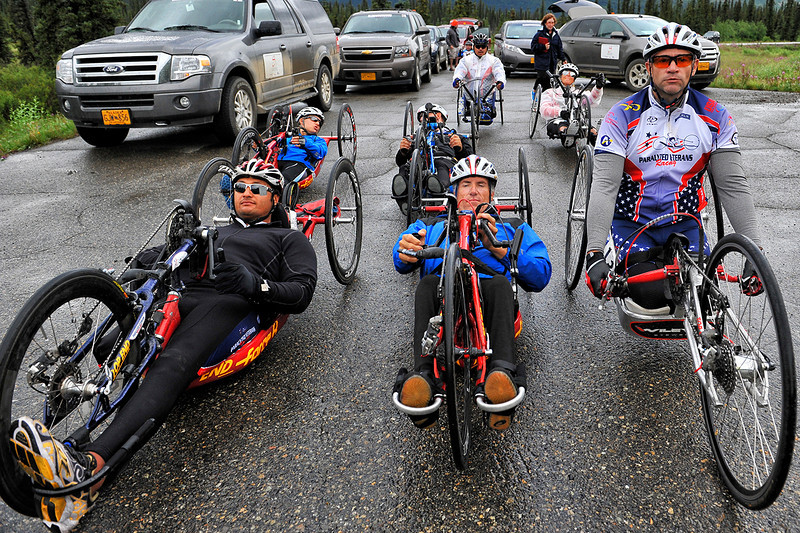 July 19, 2013: Sadler's Alaska Challenge Stage Five from Milepost 211 to Milepost 183. The handcyclists prepare for the start of stage five.