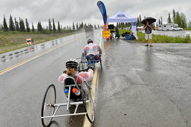 July 19, 2013: Sadler's Alaska Challenge Stage Five from Milepost 211 to Milepost 183. Joseph Beimfohr (Wesley Chapel, Fla.) and Karin Korb (N. Lauderdale, Fla.) near the finish line for stage five.