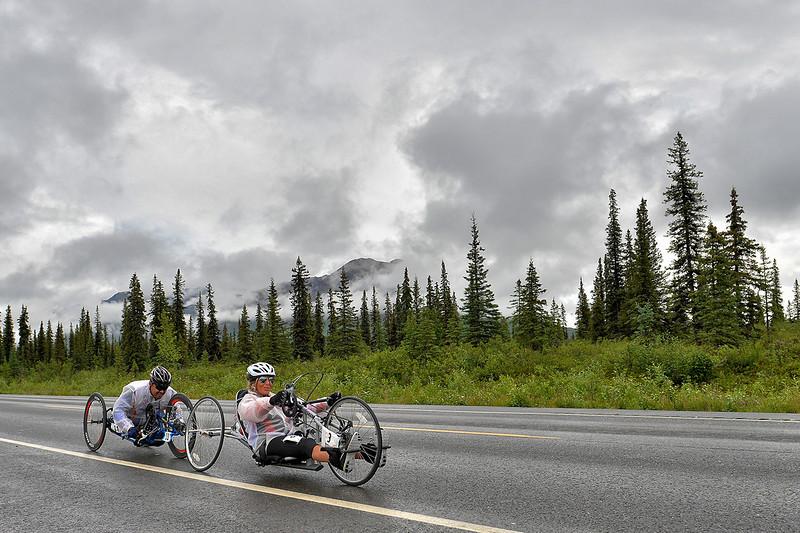 July 19, 2013: Sadler's Alaska Challenge Stage Five from Milepost 211 to Milepost 183. Karin Korb (N. Lauderdale, Fla.) and Joseph Beimfohr (Wesley Chapel, Fla.) race along the Parks highway during stage five.
